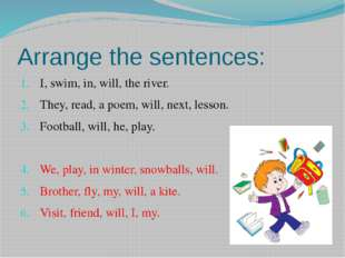 Arrange the sentences: I, swim, in, will, the river. They, read, a poem, will