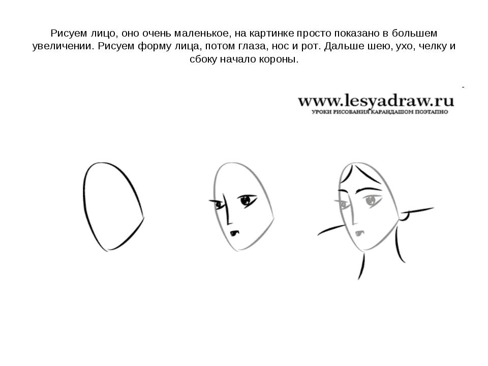 Рисуем лицо, оно очень маленькое, на картинке просто показано в большем увели...