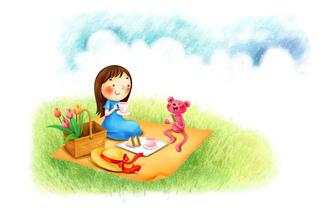 цветы, Пикник, мишка