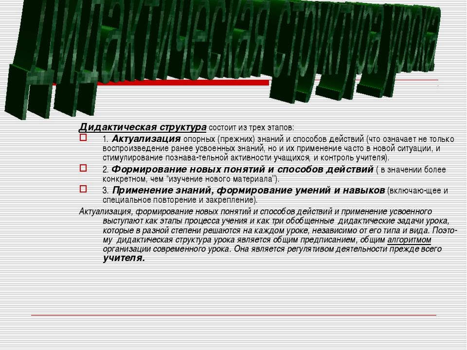 Дидактическая структура состоит из трех этапов: 1. Актуализация опорных (преж...