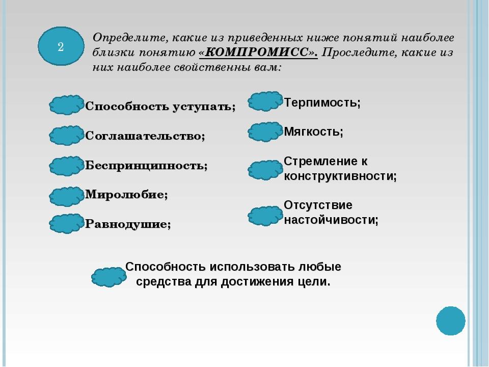 2 Определите, какие из приведенных ниже понятий наиболее близки понятию «КОМП...