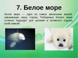 7. Белое море Белое море — одно из самых маленьких морей, омывающих нашу стра