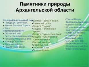 Памятники природы Архангельской области Ненецкий автономный округ Городище Пу