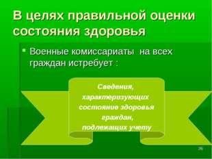 * В целях правильной оценки состояния здоровья Военные комиссариаты на всех г