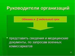 * Руководители организаций представить сведения и медицинские документы, по з