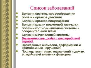 * Список заболеваний Болезни системы кровообращения Болезни органов дыхания Б