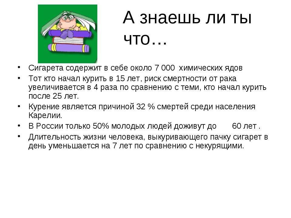 А знаешь ли ты что… Сигарета содержит в себе около 7 000 химических ядов Тот...