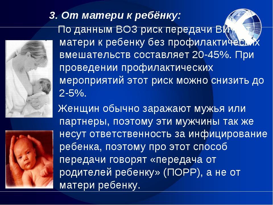 3. От матери к ребёнку: По данным ВОЗ риск передачи ВИЧ от матери к ребенку б...