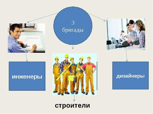 3 бригады инженеры дизайнеры строители
