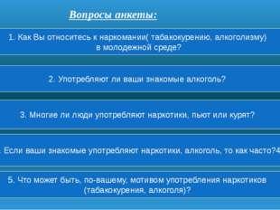 Вопросы анкеты: 1. Как Вы относитесь к наркомании( табакокурению, алкоголизму