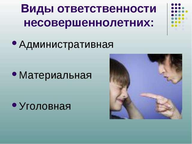 Виды ответственности несовершеннолетних: Административная Материальная Уголов...