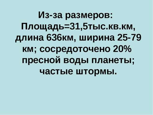 Из-за размеров: Площадь=31,5тыс.кв.км, длина 636км, ширина 25-79 км; сосредот...