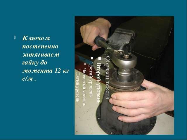 Ключом постепенно затягиваем гайку до момента 12 кг с/м .