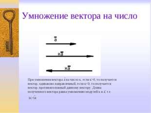 Умножение вектора на число При умножении вектора а на число к, если к>0, то п