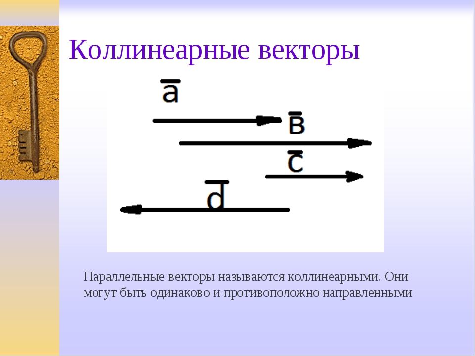 Коллинеарные векторы Параллельные векторы называются коллинеарными. Они могут...