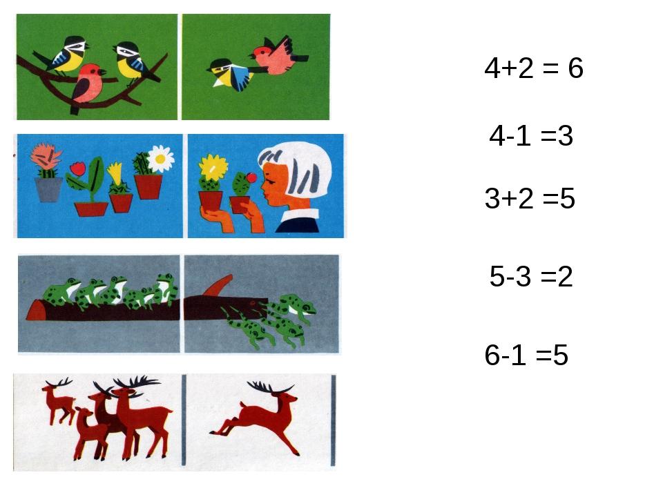 4+2 = 6 4-1 =3 6-1 =5 3+2 =5 5-3 =2