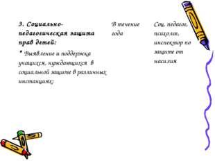 3. Социально-педагогическая защита прав детей: * Выявление и поддержка учащих