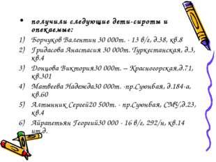 получили следующие дети-сироты и опекаемые: Борчуков Валентин 30000т. - 13 в