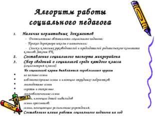 Алгоритм работы социального педагога 1. Наличие нормативных документов - Долж