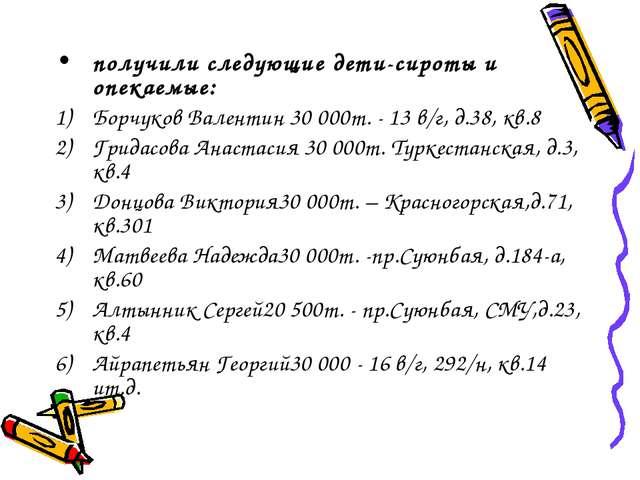 получили следующие дети-сироты и опекаемые: Борчуков Валентин 30000т. - 13 в...