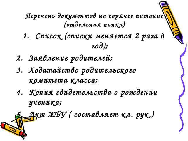 Перечень документов на горячее питание (отдельная папка) Список (списки меняе...