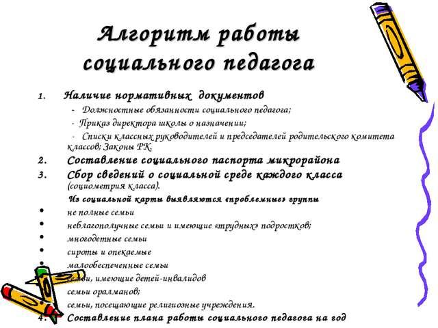 Алгоритм работы социального педагога 1. Наличие нормативных документов - Долж...