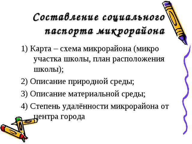 Составление социального паспорта микрорайона 1) Карта – схема микрорайона (ми...