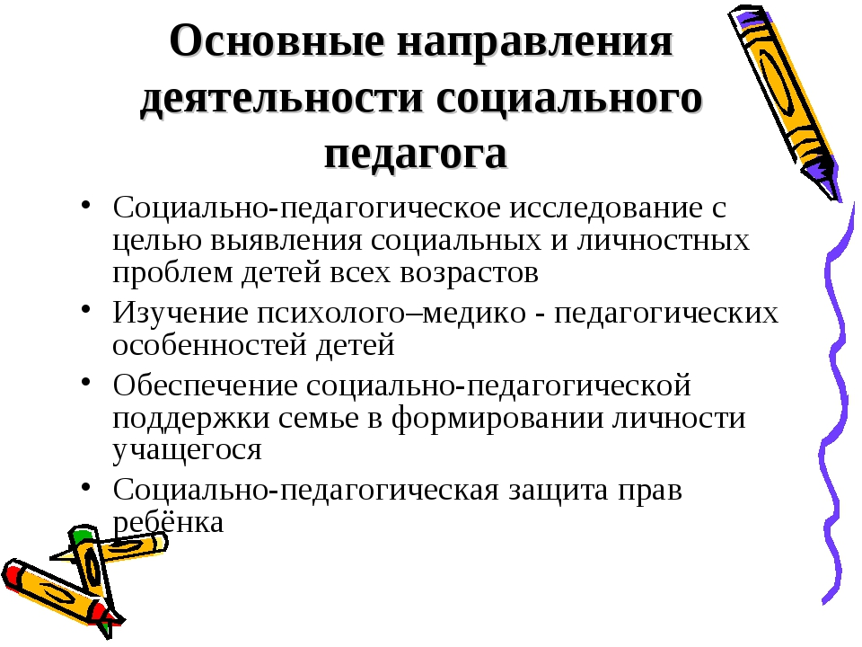 Основные направления деятельности социального педагога Социально-педагогическ...