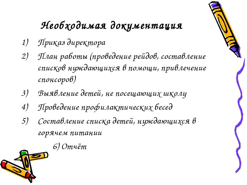 Необходимая документация Приказ директора План работы (проведение рейдов, сос...