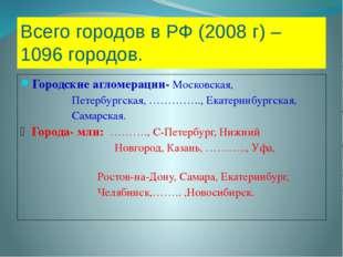 Всего городов в РФ (2008 г) – 1096 городов. Городские агломерации- Московская