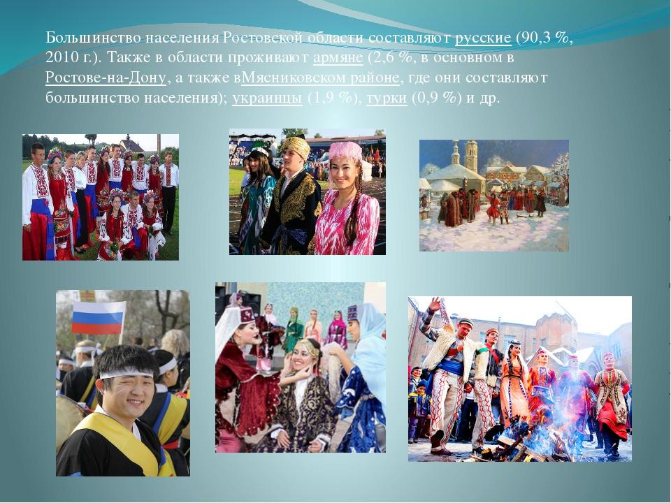 Большинство населения Ростовской области составляютрусские(90,3%, 2010г.)...