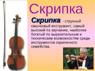 Скрипка - струнный смычковый инструмент, самый высокий по звучанию, наиболее