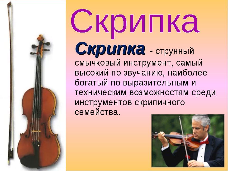 Скрипка - струнный смычковый инструмент, самый высокий по звучанию, наиболее...