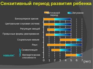 Сензитивный период развития ребенка 0 1 2 3 4 5 6 7 Математические способност
