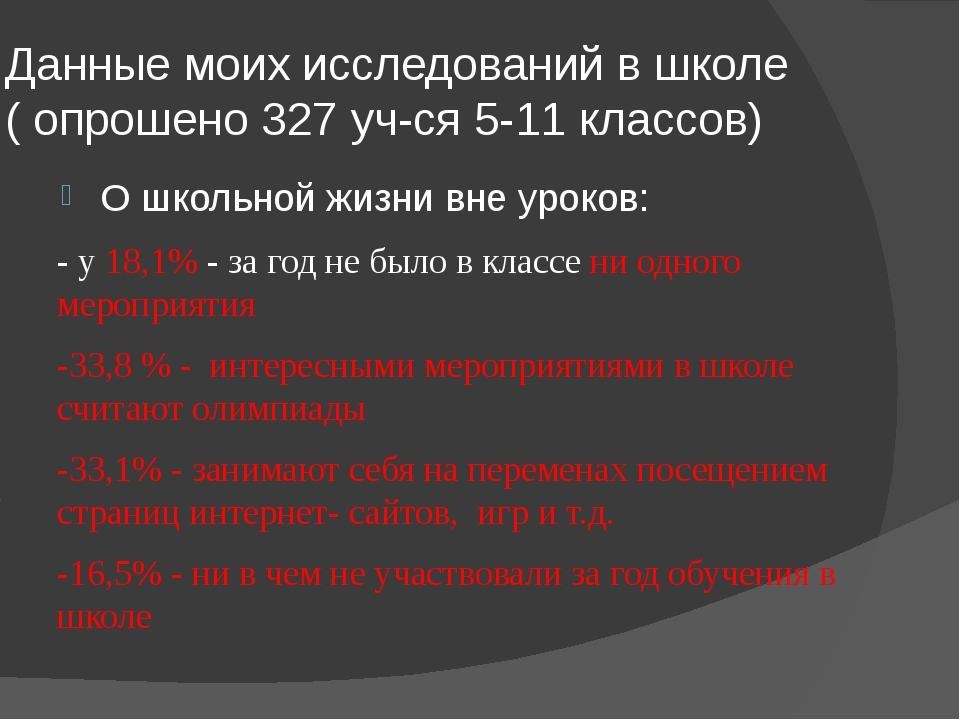 Данные моих исследований в школе ( опрошено 327 уч-ся 5-11 классов) О школьно...
