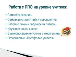 Самообразование. Самоанализ занятий и мероприятий. Работа с личным творческим