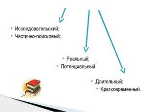 Исследовательский; Частично-поисковый; Реальный; Потенциальный Длительный; Кр