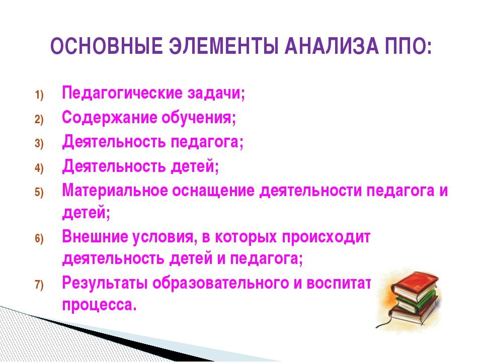 Педагогические задачи; Содержание обучения; Деятельность педагога; Деятельнос...