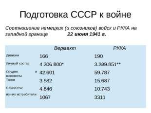 Подготовка СССР к войне Соотношение немецких (и союзников) войск и РККА на за