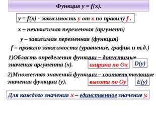 Функция y = f(x). y = f(x) - зависимость y от x по правилу f . 1)Область опре