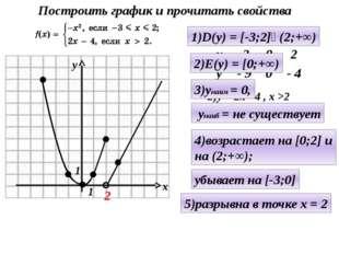 1)у = - х² , - 3≤ х ≤ 2 2)у = 2х - 4 , х >2 2 1)D(y) = [-3;2]ᴜ(2;+∞) 2)E(y) =