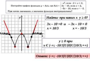 Найти: при каких x y ≥ 0? 3x – 10 =0 и – 3x – 10 = 0 x = 10/3 x = - 10/3 y ≥