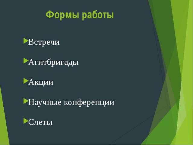 Формы работы Встречи Агитбригады Акции Научные конференции Слеты