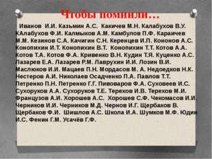 Чтобы помнили… Иванов И.И. Казьмин А.С. Какичев М.Н. Калабухов В.У. КАлабухов