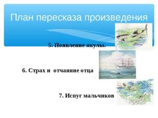 План пересказа произведения 5. Появление акулы. 6. Страх и отчаяние отца 7. И