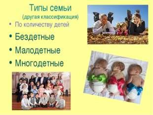 Типы семьи (другая классификация) По количеству детей Бездетные Малодетные Мн