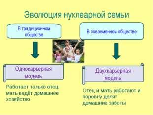 Эволюция нуклеарной семьи В традиционном обществе В современном обществе Одно