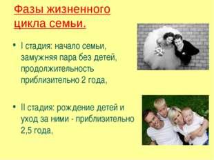 I стадия: начало семьи, замужняя пара без детей, продолжительность приблизите