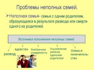Проблемы неполных семей. Неполная семья- семья с одним родителем, образующаяс