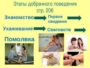 Этапы добрачного поведения стр. 206 Знакомство Первое свидание Ухаживание Сва